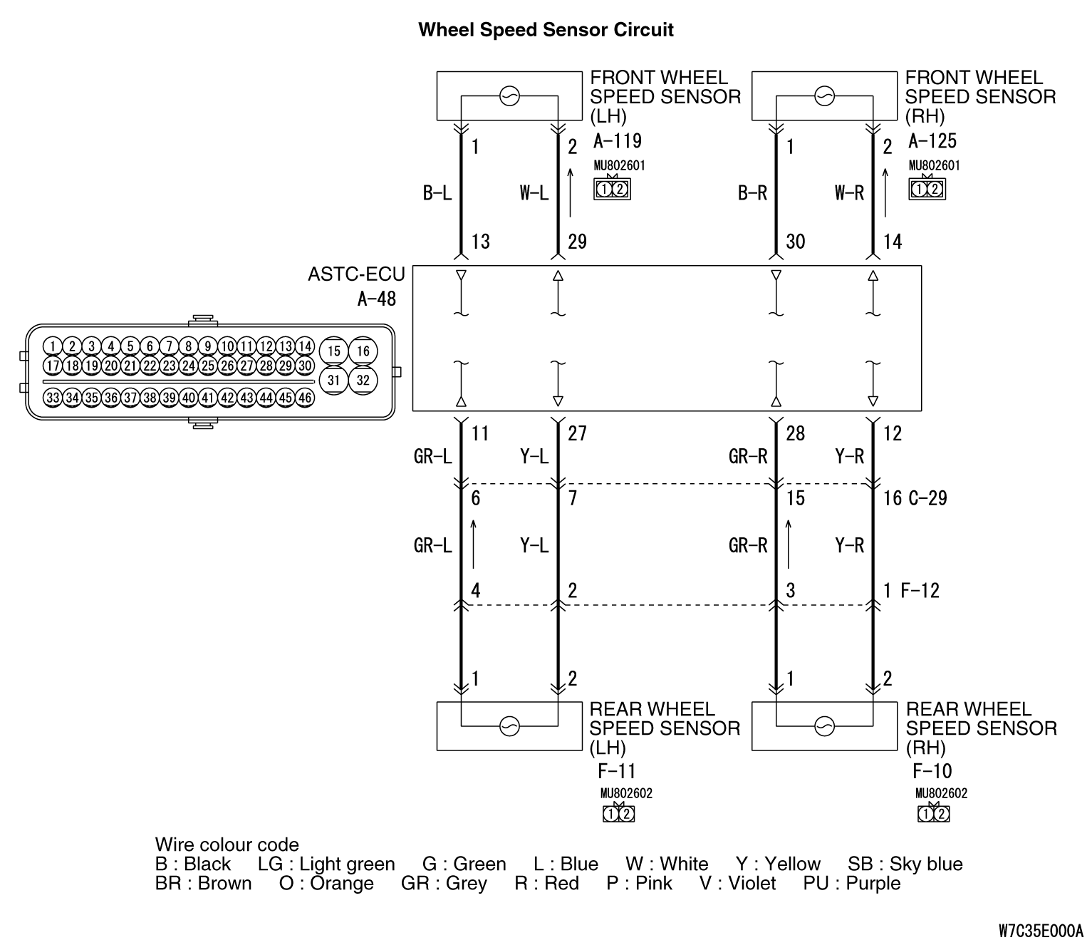 Code No C1201: Wheel Speed Sensor (FR) System (Sensor Transmitting