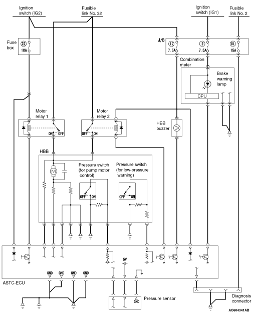 hydraulic brake booster electrical circuit diagram